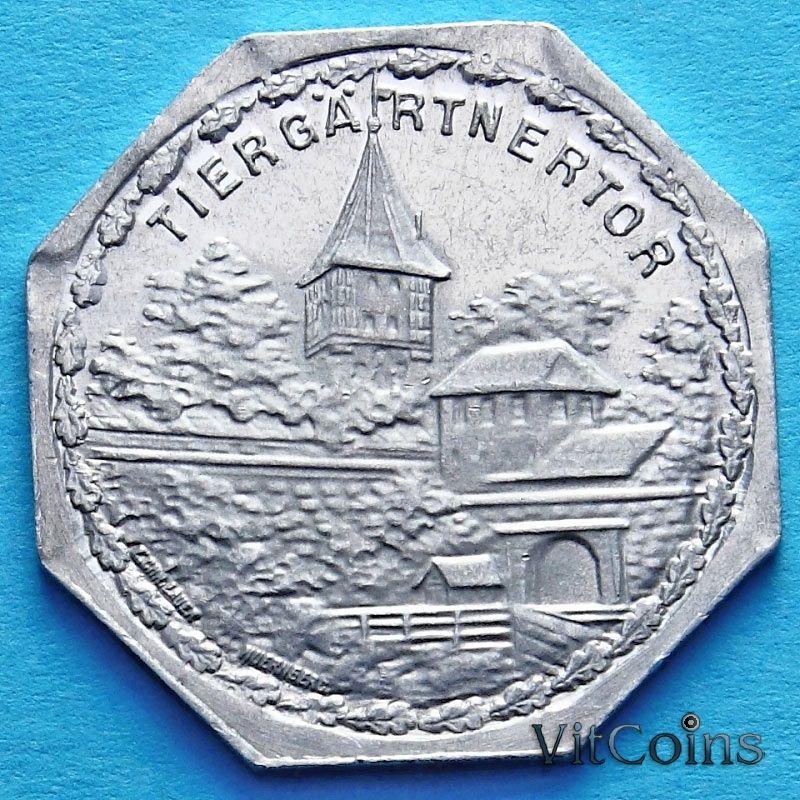 Монета Германии 20 пфеннигов. Трамвайный Нотгельд Нюрнберга. Ворота Тиргэртнертор.