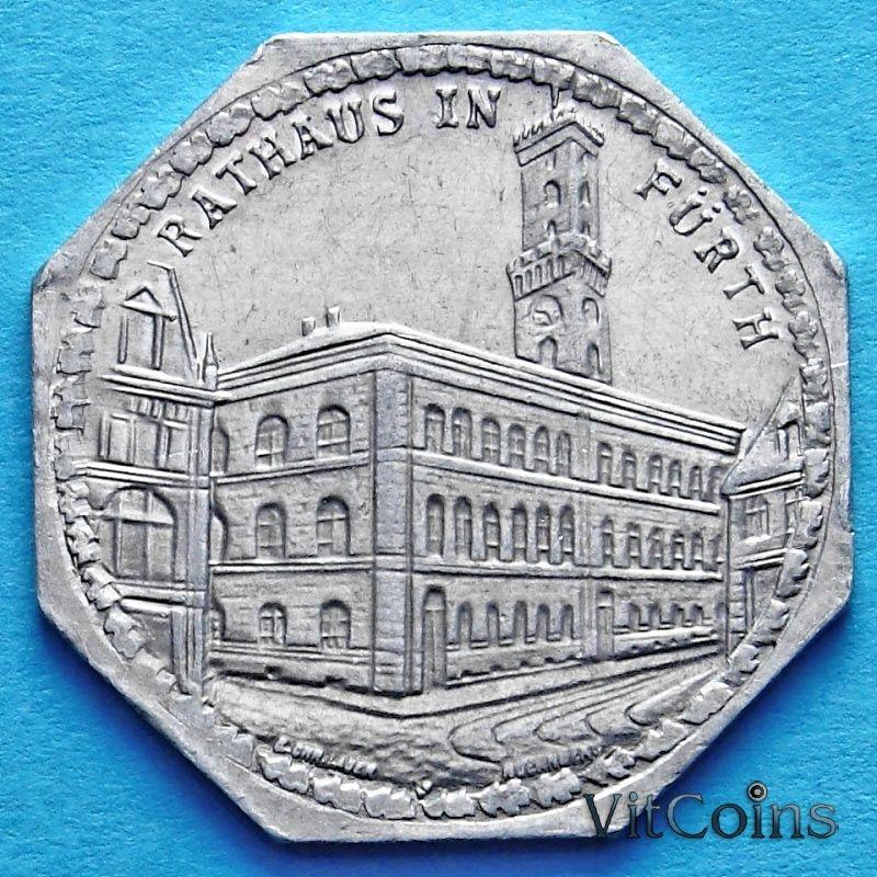 Монета Германии 20 пфеннигов. Трамвайный Нотгельд Нюрнберга. Ратуша в Форте.
