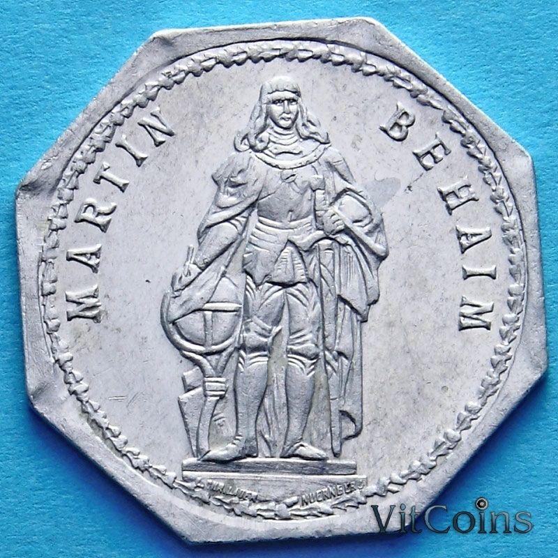 Монета Германии 20 пфеннигов. Трамвайный Нотгельд Нюрнберга. Мартин Бехайм.