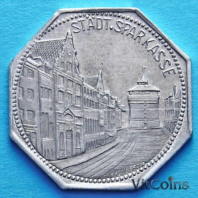 Монета Германии 20 пфеннигов. Трамвайный Нотгельд Нюрнберга. Сберегательная касса.