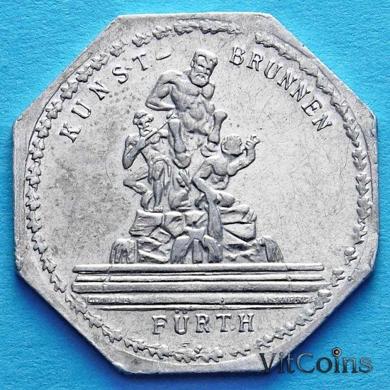 Монета Германии 20 пфеннигов. Трамвайный Нотгельд Нюрнберга. Фонтан Кентавр.