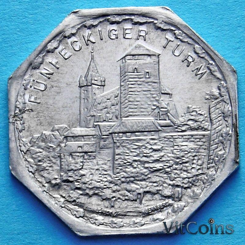 Монета Германии 20 пфеннигов. Трамвайный Нотгельд Нюрнберга. Ворота Пятиугольной башни.