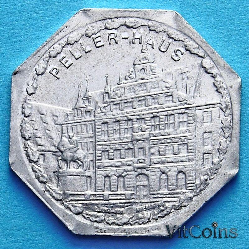 Монета Германии 20 пфеннигов. Трамвайный Нотгельд Нюрнберга. Пеллерхаус.