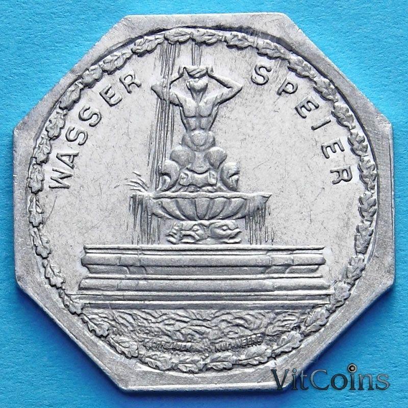 Монета Германии 20 пфеннигов. Трамвайный Нотгельд Нюрнберга. Фонтан Тритона.