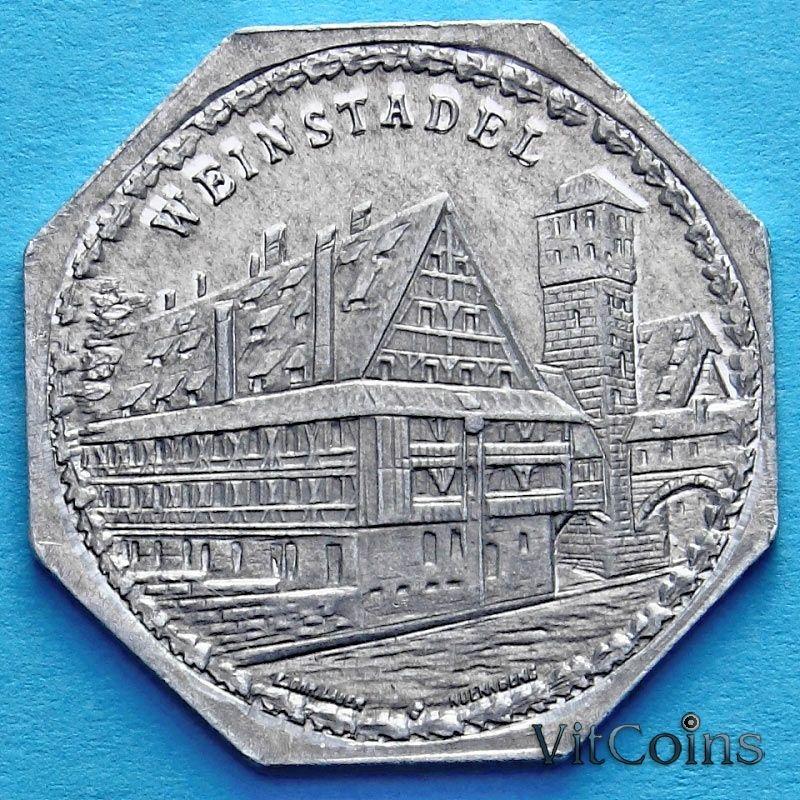Монета Германии 20 пфеннигов. Трамвайный Нотгельд Нюрнберга. Винный дом.
