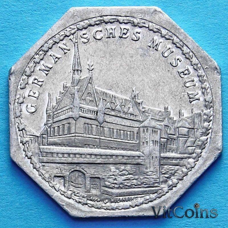 Монета Германии 20 пфеннигов. Трамвайный Нотгельд Нюрнберга. Музей.