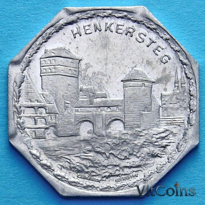Монета Германии 20 пфеннигов. Трамвайный Нотгельд Нюрнберга. Мост палача.