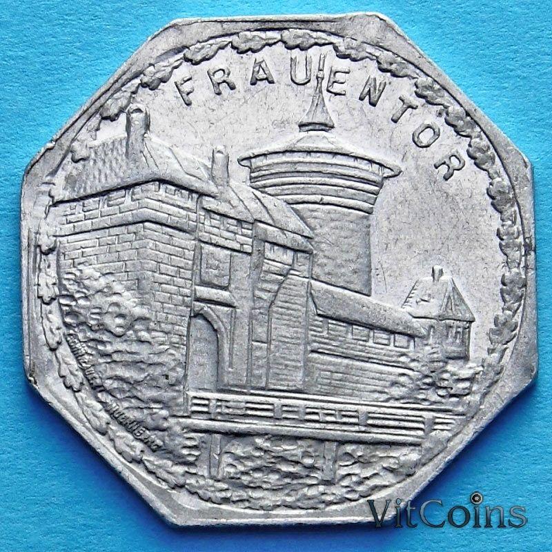 Монета Германии 20 пфеннигов. Трамвайный Нотгельд Нюрнберга. Башня Фрауентор.