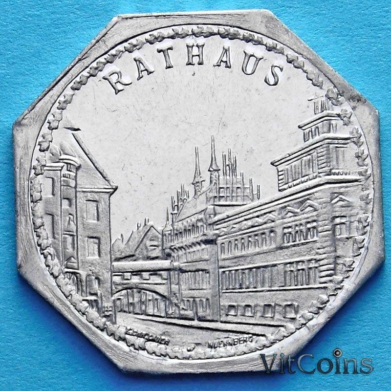 Монета Германии 20 пфеннигов. Трамвайный Нотгельд Нюрнберга. Ратуша.