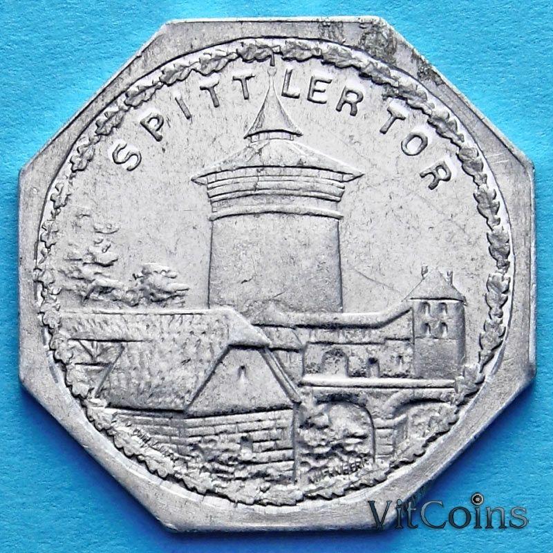 Монета Германии 20 пфеннигов. Трамвайный Нотгельд Нюрнберга. Ворота Шпиттлер.