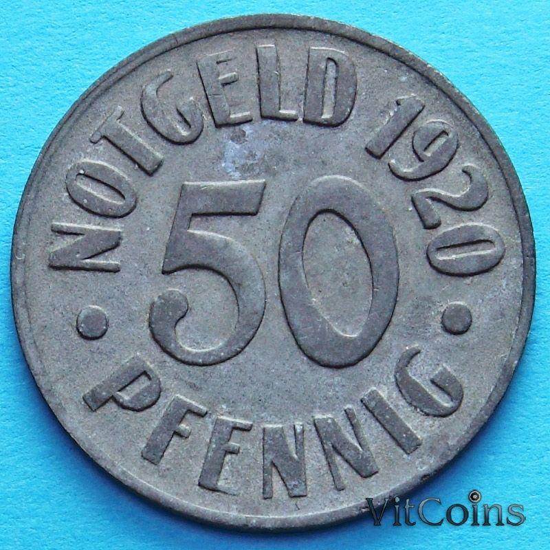 Монета Германии 50 пфеннигов 1920 год. Нотгельд Кассель.