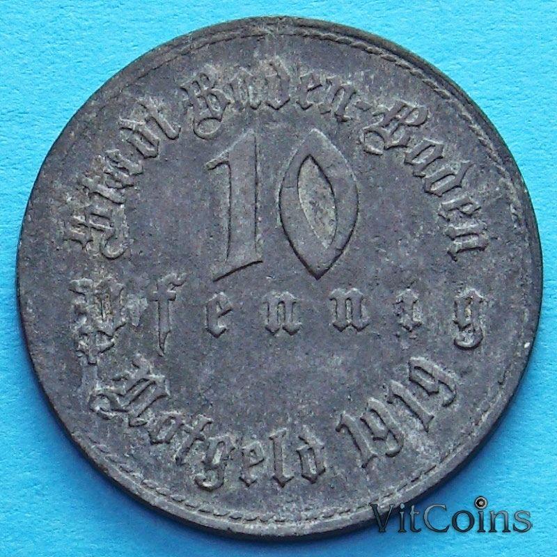Монета Германии 10 пфеннигов 1919 год. Нотгельд Баден-Баден.