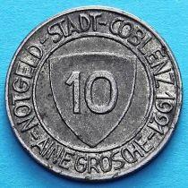 Германия 10 пфеннигов 1921 год. Нотгельд Кобленц. Йозеф Гёррес.