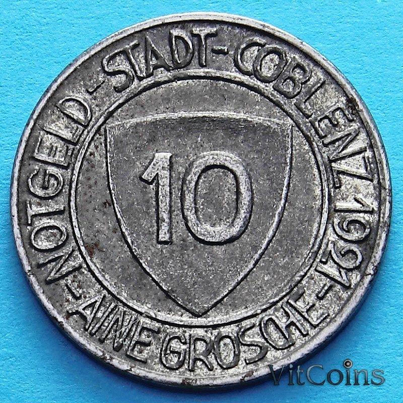 Монета Германии 10 пфеннигов 1921 год. Нотгельд Кобленц.