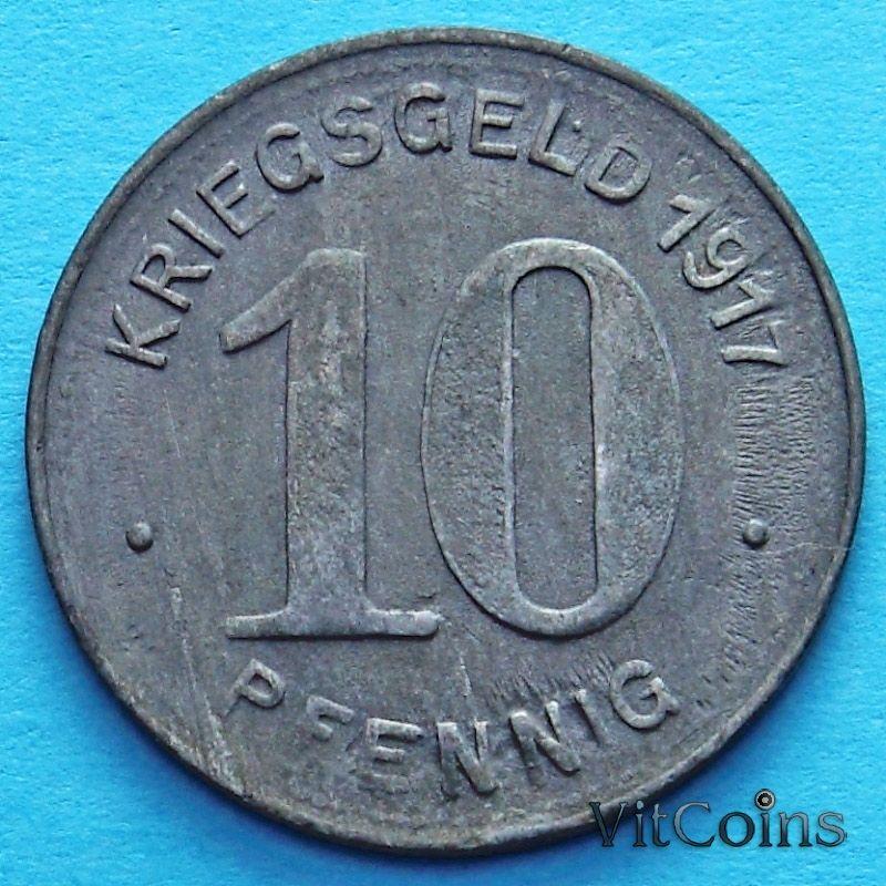 Монета Германии 10 пфеннигов 1917 год. Нотгельд Эльберфельд.