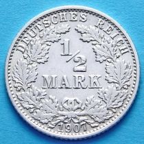 Германия 1/2 марки 1907 г. Серебро А