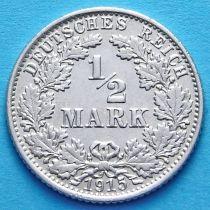 Германия 1/2 марки 1915 г. Серебро Е