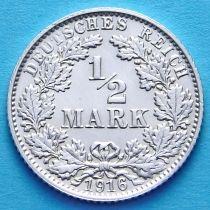 Германия 1/2 марки 1916 г. Серебро Е