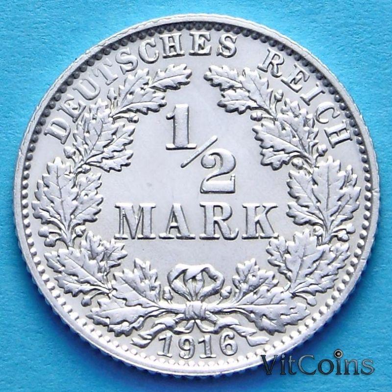Монета Германии 1/2 марки 1916 г. Серебро Е