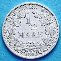 Германия 1/2 марки 1905 год. Серебро F
