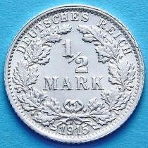 Германия 1/2 марки 1915 г. Серебро F