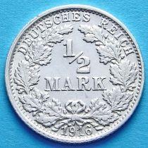 Германия 1/2 марки 1916 г. Серебро F