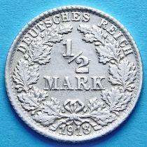 Германия 1/2 марки 1918 г. Серебро F