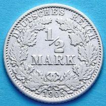 Германия 1/2 марки 1905 г. Серебро G