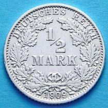 Германия 1/2 марки 1909 г. Серебро G