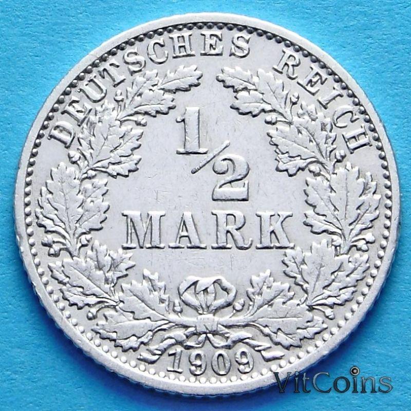 Монета Германии 1/2 марки 1909 г. Серебро G