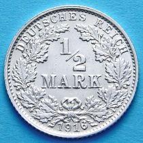Германия 1/2 марки 1916 г. Серебро G