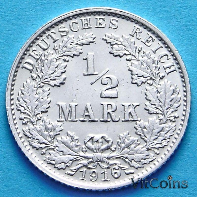Монета Германии 1/2 марки 1916 г. Серебро G