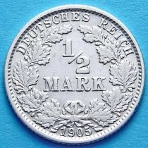 Германия 1/2 марки 1905 г. Серебро J