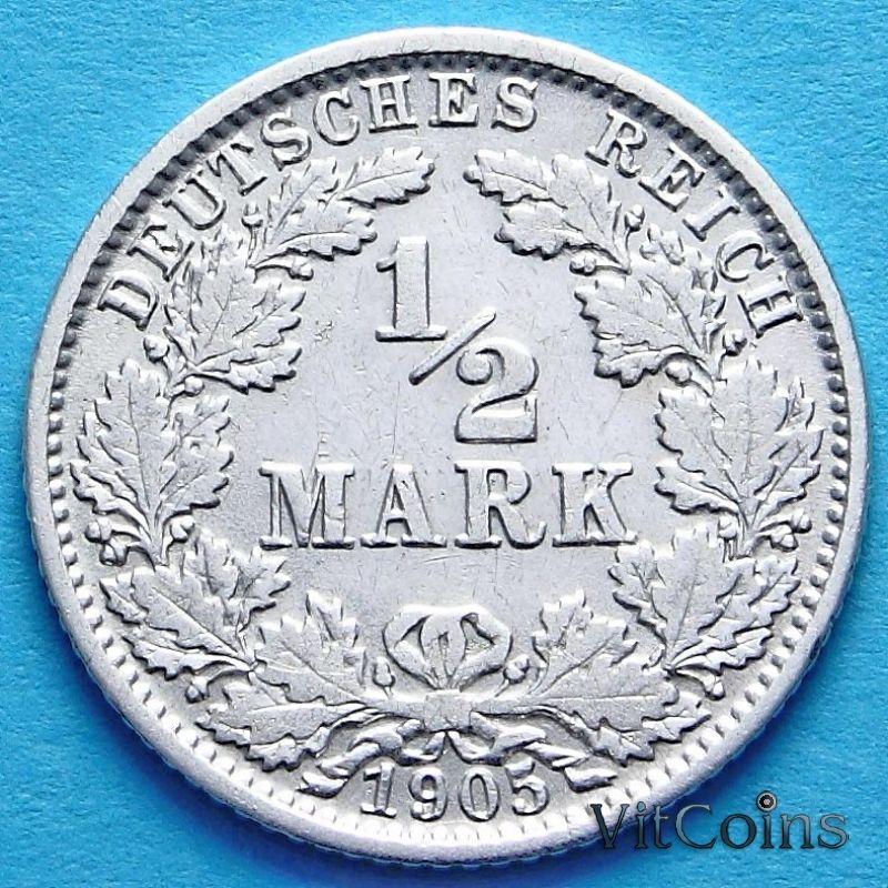 Монета Германии 1/2 марки 1905 г. Серебро J