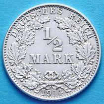 Германия 1/2 марки 1914 г. Серебро J