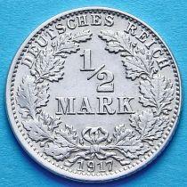 Германия 1/2 марки 1917 г. Серебро J