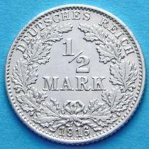 Германия 1/2 марки 1916 г. Серебро D