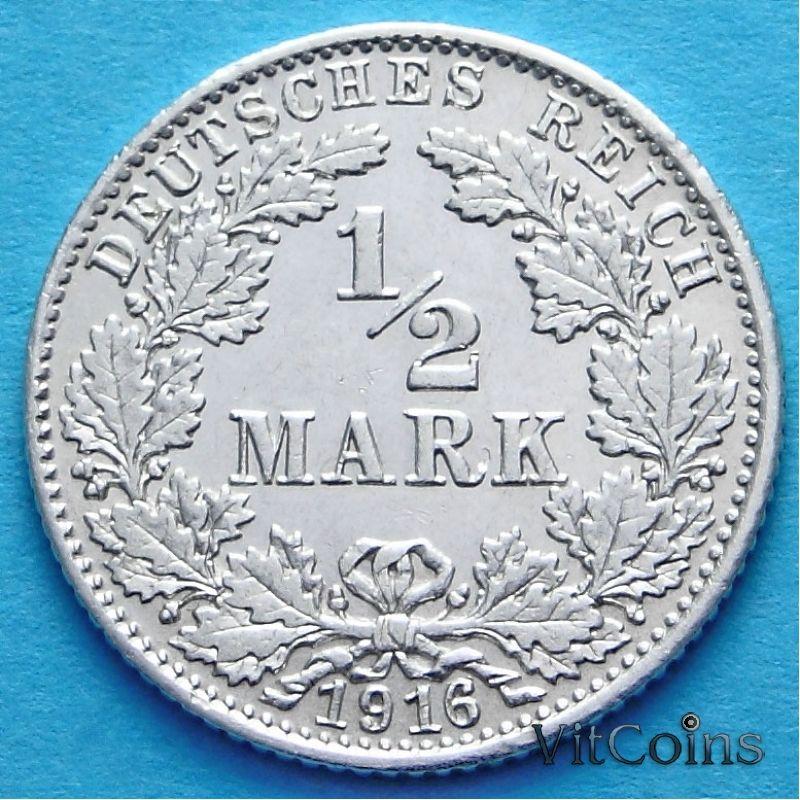 Монета Германии 1/2 марки 1916 г. Серебро D