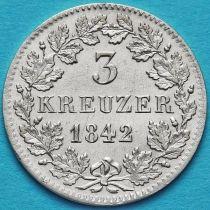 Бавария, Германия 3 крейцера 1842 год. Серебро.