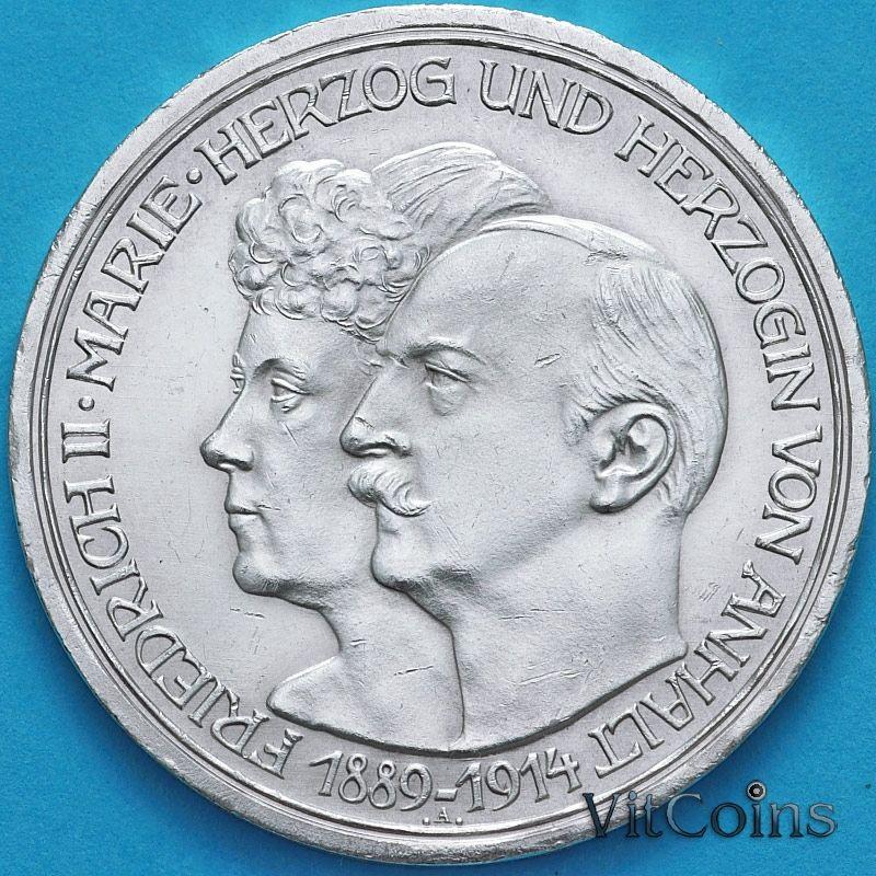 Монета Германии 3 марки 1914 год. Серебро.