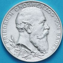 Баден, Германия, 2 марки 1902 год. 50 лет правлению Фридриха I. Серебро. №2