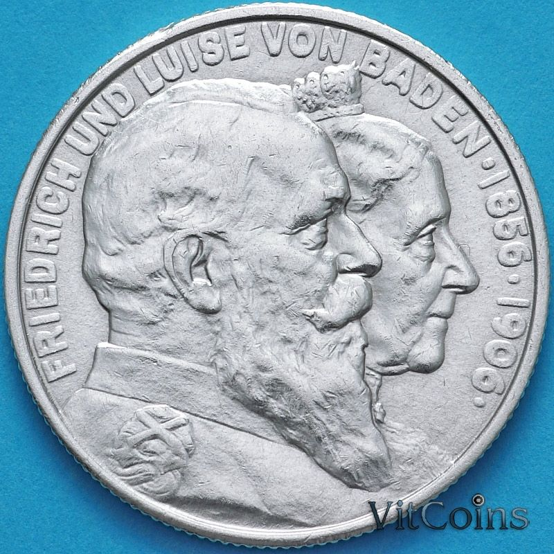 Монета Баден, Германия, 2 марки 1906 год. Фридрих I и Луиза Прусская. Серебро.