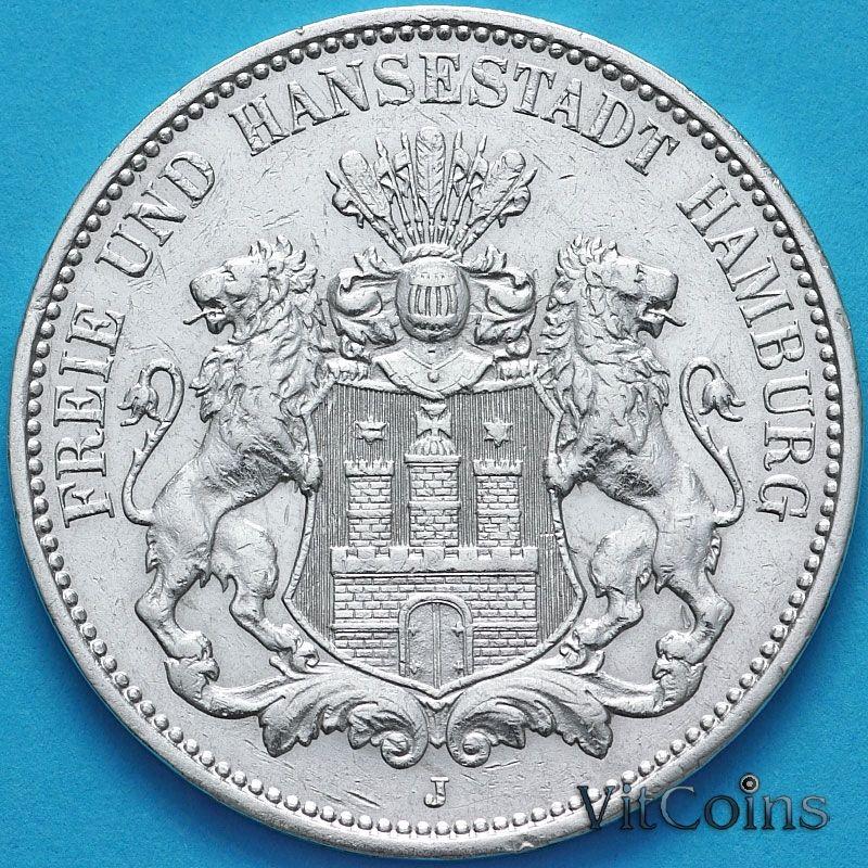 Монета Германии 3 марки 1910 год. Серебро J.