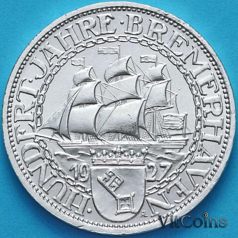 Монета Германии 3 рейхсмарки 1927 год. 100 лет Бремерхафену. Серебро.