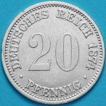 Германия 20 пфеннигов 1874 год. А. Серебро.