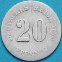 Германия 20 пфеннигов 1875 год. G. Серебро.