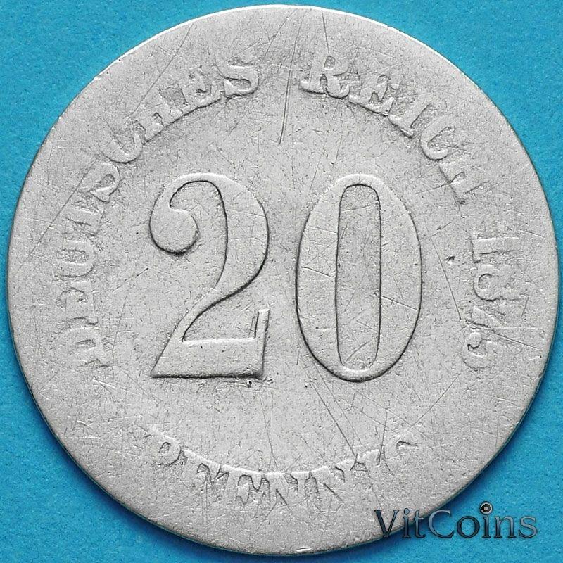 Монета Германия 20 пфеннигов 1875 год. G. Серебро.
