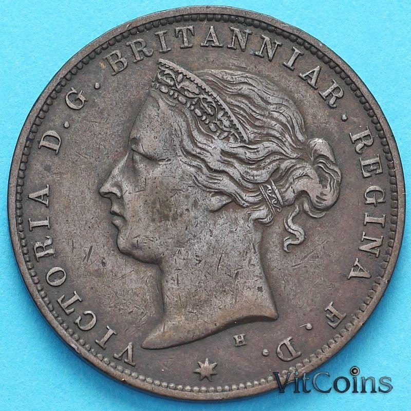 Монета Джерси 1/24 шиллинга 1877 год. Виктория.