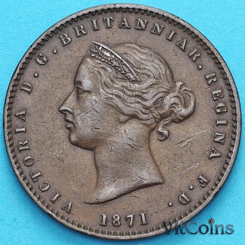 Монета Джерси 1/26 шиллинга 1871 год. Виктория.