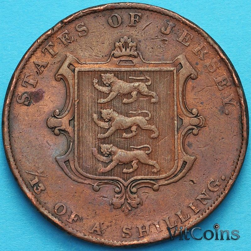 Монета Джерси 1/13 шиллинга 1844 год.